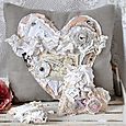 Shabby Chic Textile Pillow and Hearts